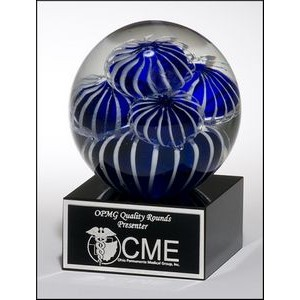 "Glass Globe Award w/Black Base (3.5"")"