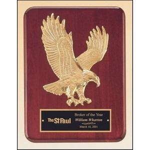 Rosewood Stained Piano Finish Plaque w/Goldtone Eagle Casting