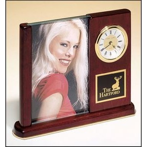 "Desk Clock w/Glass Picture Frame (4""x6"")"