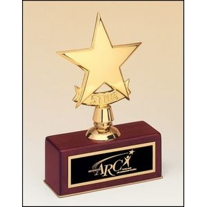 Metal Goldtone Star Award w/Rosewood Base