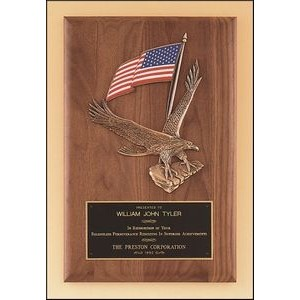 Solid American Walnut Plaque w/Eagle and American Flag Casting