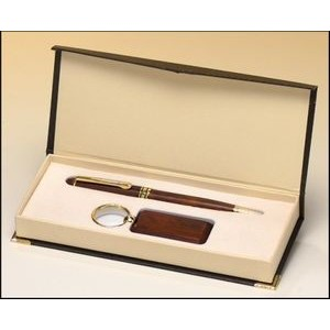 Rosewood-finish pen and key ring set