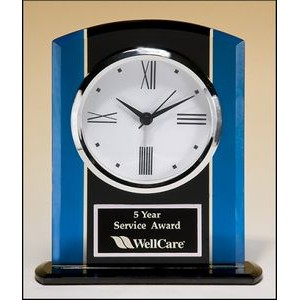 "Black and Blue Glass Clock Award (5.25""x6.25"")"