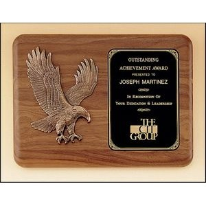 "American Walnut Plaque w/Sculptured Eagle Casting (11""x15"")"