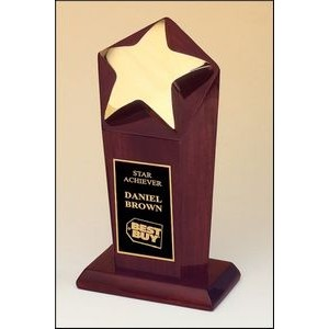 Polished Goldtone Star Award w/Rosewood Stained Base