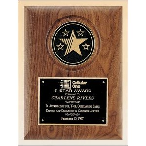 Solid American Walnut Plaque w/5-Star Cast Medallion