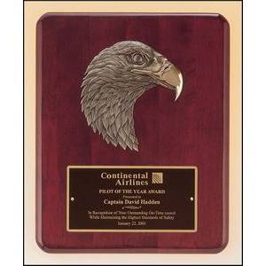 "Rosewood Stained Piano Finish Plaque w/Eagle Casting (10.5""x13"")"