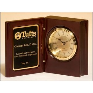 "Rosewood Book Clock Award (3""x4.25"")"